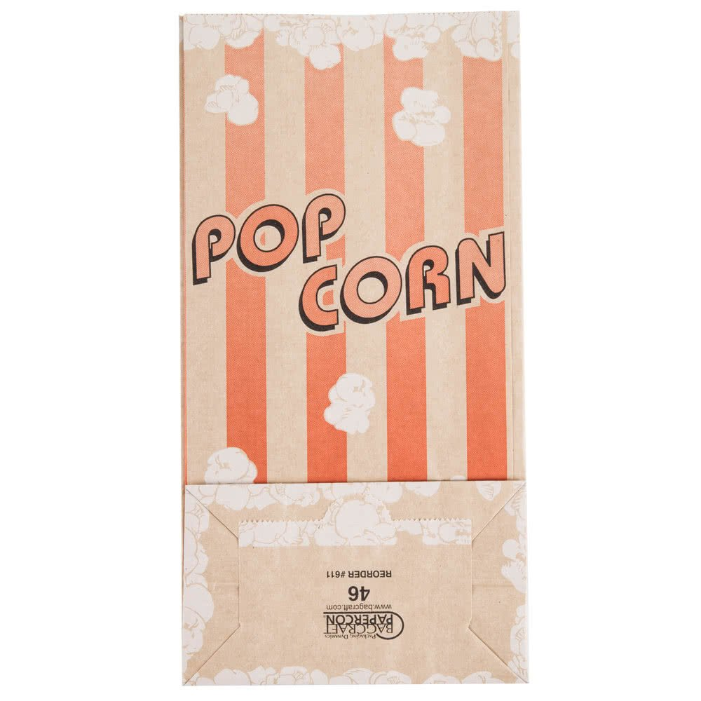 Papercon 300611 4 1/4'' x 2 1/2'' x 8 1/4'' 46 oz. EcoCraft Popcorn Bag - 1000/Case By TableTop King