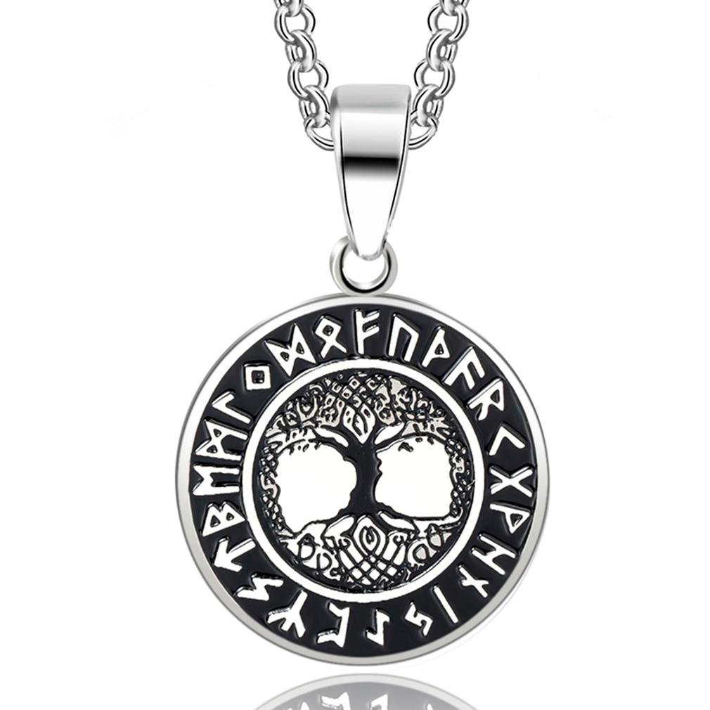 JEWLUXURY Norse Vikings Runes Amulet Pendant Necklace Tree Of Life Pendant Necklace Nordic Talisman