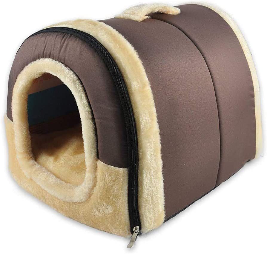 Coral Velvet Self-Warming 2 in 1 Home and Sofa for Dog Bed Cat Foldable Cave Shape High Elastic Foam Warm Soft Pet Bed B, Brown