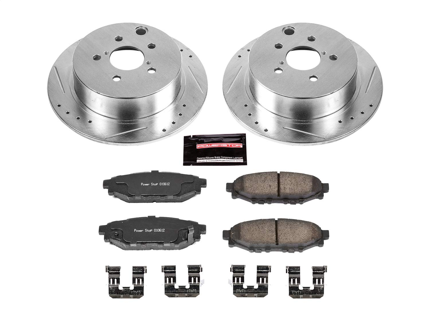 2 Silver Coated Cross-Drilled Disc Brake Rotors Heavy Tough-Series Fits:- 5lug Rear Rotors
