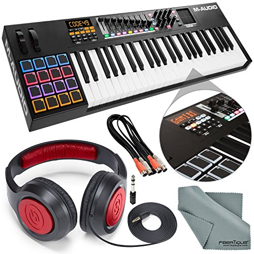 M-Audio Code 49 49-Key USB-MIDI Keyboard Controller with X/Y Touch Pad and Accessory Bundle w/ Headphones, Dual MIDI Cable, and Fibertique Cloth by Photo Savings
