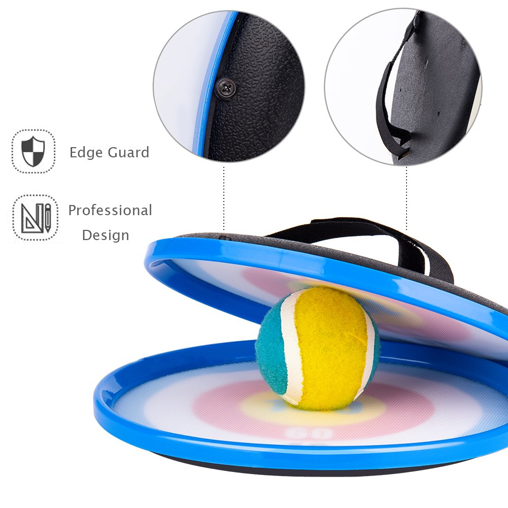 Throw Catch Ball Set 9.1/'/' Hand-held Stick Disc with 2 Paddles and 1 Ball Compatible Kids Choyur Paddle Catch Ball and Toss Game