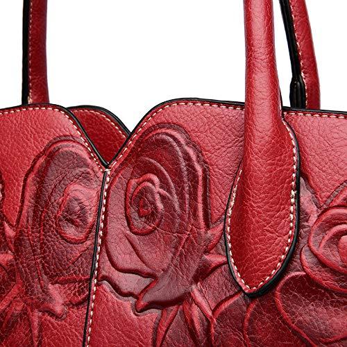 Individual con Gran Viento Bolso de Red diseño Relieve Relieve Wine Mujer para Bandolera Red Bandolera Capacidad en en wine GSYDDJB vOgwqICv