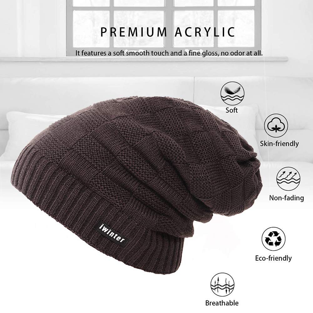 4YOUALL Beanie Hat for Men and Women, Fleece Lined Winter Warm Soft Nap Hats Knit Slouchy Thick Skull Cap (Cube Knit, Coffee)