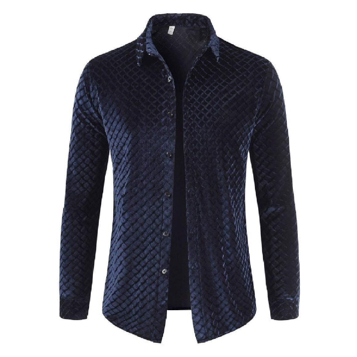 QUHSMen Lapel Collar Long-Sleeve Pleuche Autumn Winter Cardi Shirts