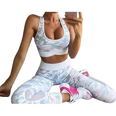 Femmes Survêtement Entraînement Vêtements Yoga Costume Camouflage 2 Pièce Ensemble Fitness Tops Racerback Tops + Pantalon Leggings Running Gym De Plein Air Jogging Tenues Vêtements de Sport Jule