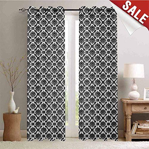 (Hengshu Black and White Blackout Draperies for Bedroom Monochrome Flourishes with Venetian Design Details Repeating Scroll Thermal Insulating Blackout Curtain W96 x L108 Inch Black and White )