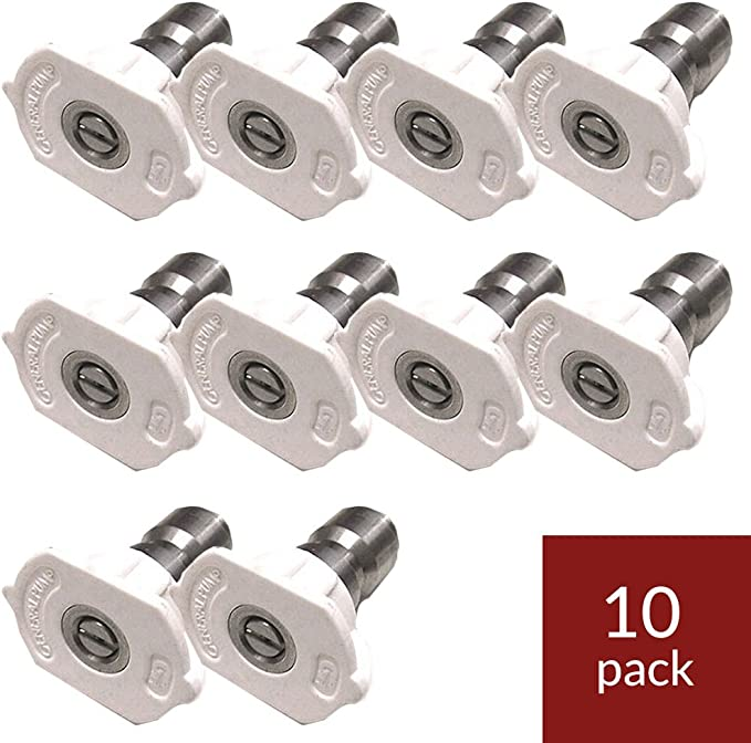 15 Degrees, General Pump 9.802-296.0 Yellow QC Pressure Washer Nozzle 10pk 1504