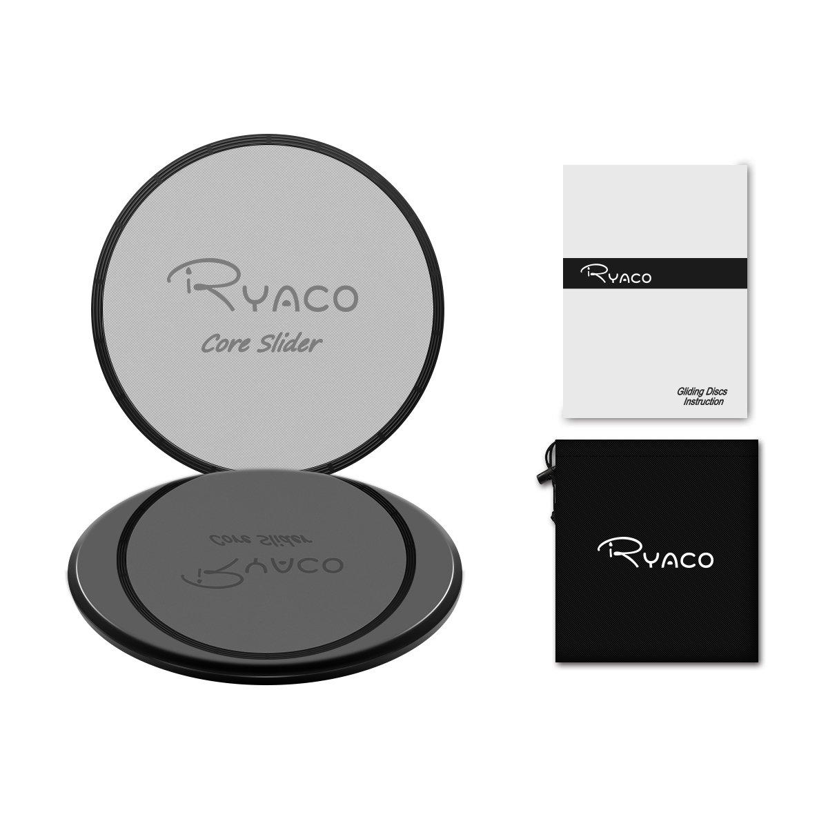 RYACO Gleitscheiben – Doppelseitige Gliding Discs für Hause Training Bauch Workouts & Ganzkörpertraining – Gratis Tragebeutel – Für Teppich & Holzböden 91GD-AFR2P-3BLR