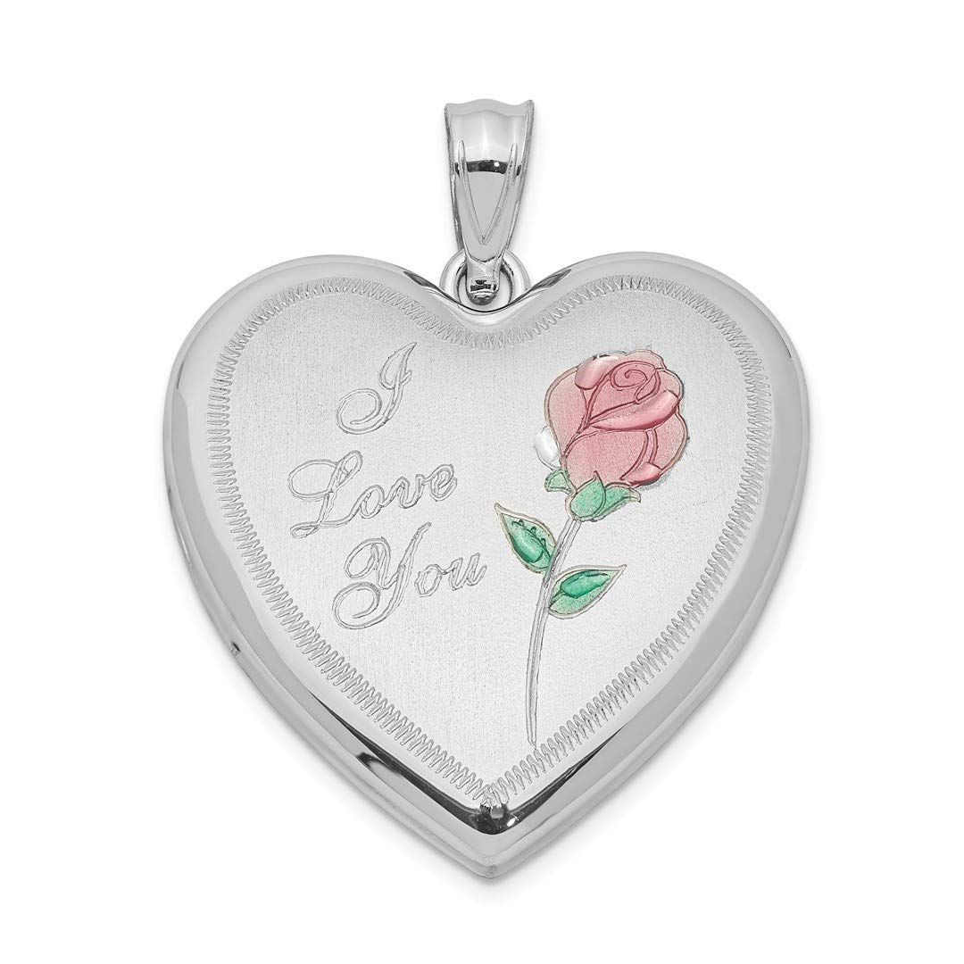 ICE CARATS 925 Sterling Silver 24mm Enameled Rose Heart Photo Pendant Charm Locket Chain Necklace That Holds Pictures Fine Jewelry Ideal Gifts For Women Gift Set From Heart