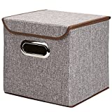 Foldable Storage Box, Shried Cotton and linen Storage Box, 25 x 25 x 25cm, Green