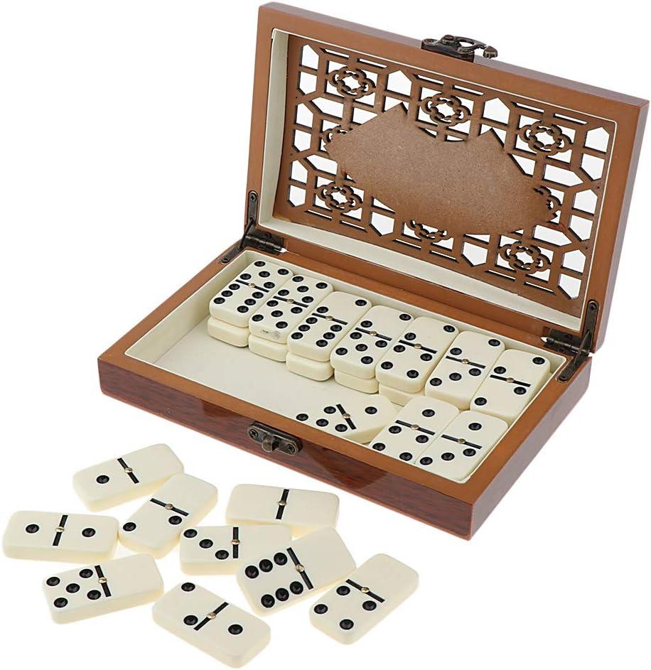 Baoblaze Juego De 2 Fichas De Fichas De Dominó Retro 28 Piezas / Juego De Juego De Viaje con Caja De Madera: Amazon.es: Juguetes y juegos