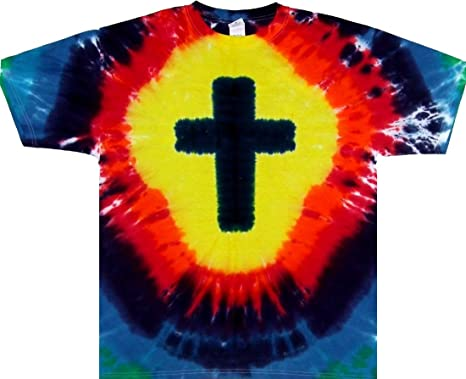 c53f73efc16b29 Tie Dyed Shop Rainbow Christian Cross Short Sleeve Tie Dye T Shirt-2X- Multicolor