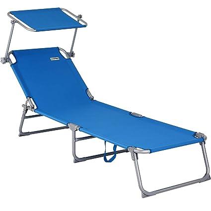 Sonnenliege mit Dach Gartenliege Campingliege Strandliege Sonnenschutz Liege