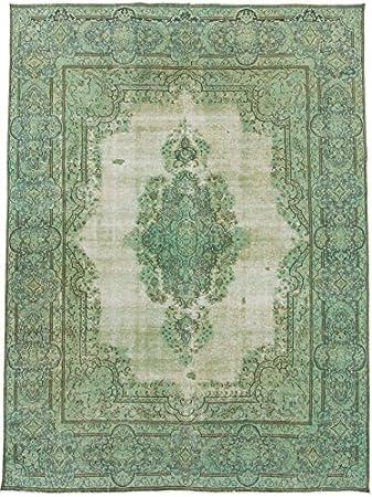 Carpetfine Vintage Teppich 295x393 Grun Handgeknupft Pakistan