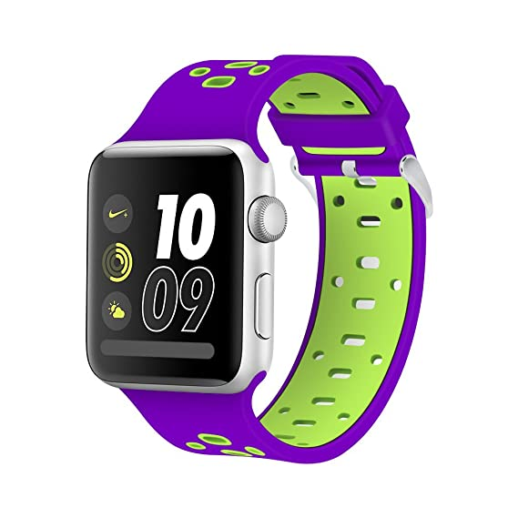 Nike Watch Band 42mm, Hflong Soft Silicone iWatch Bands Replacement Strap  for Apple Watch 42mm Nike+, Series 3, Series 2, Series 1, Sport and ...