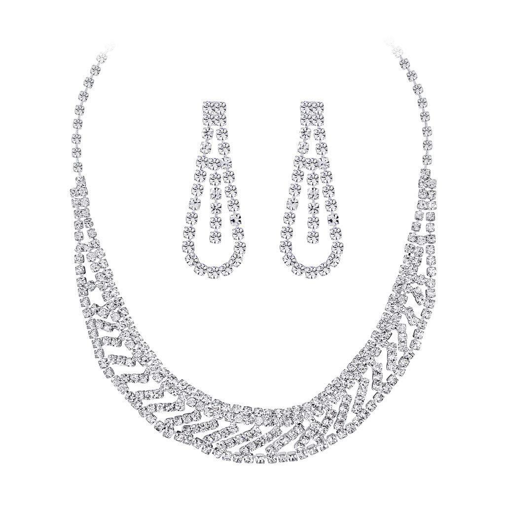 Rhinestone Necklace,Futemo Diamond Pendant Earrings Set Jewelry Statement Best Gift Choker Silver Chain for Women Girl