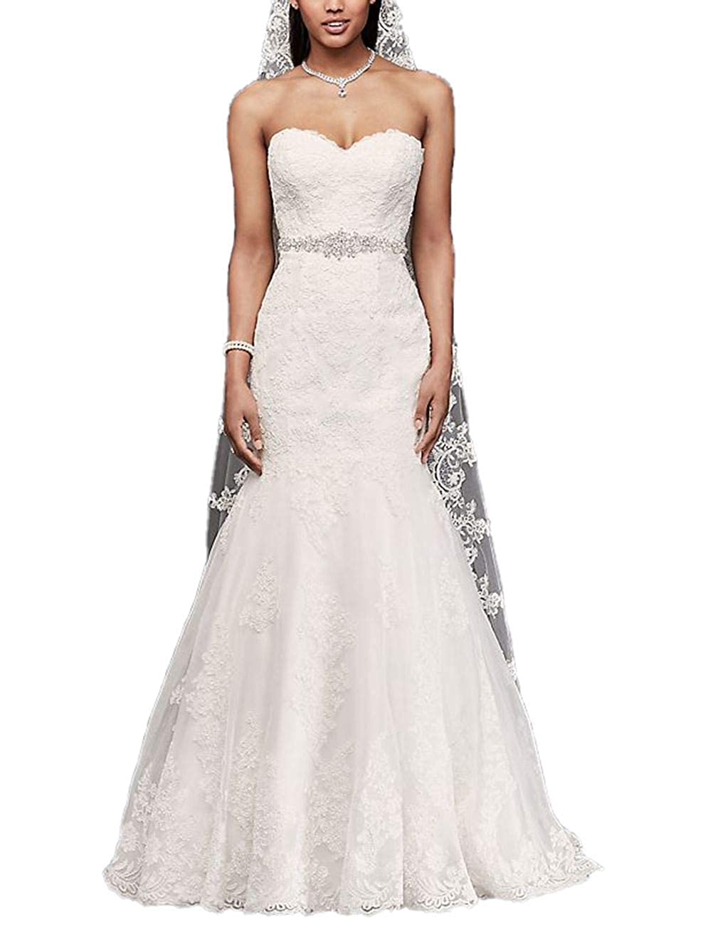56a6fae4 Sweetheart Trumpet Wedding Dress with Beaded Sash Lace Mermaid Bridal Gowns  at Amazon Women's Clothing store: