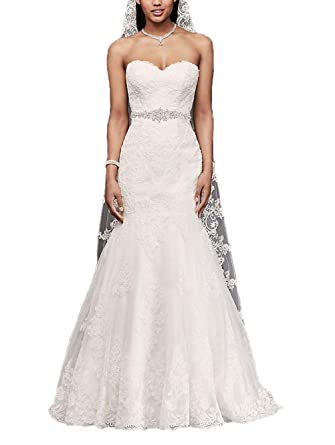 509b328ffc Sweetheart Trumpet Wedding Dress with Beaded Sash Lace Mermaid Bridal Gowns  at Amazon Women s Clothing store