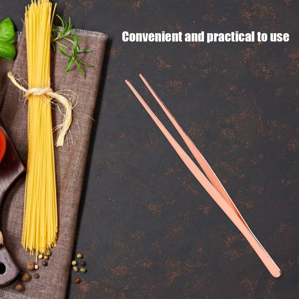 Gold Edelstahl K/üchenpinzette Lebensmittelclip mit gezahntem Kochwerkzeug f/ür den Heimgebrauch K/üchenpinzette Lange Pinzette Edelstahl-Lebensmittelpinzette Mxtech K/üchenpinzette