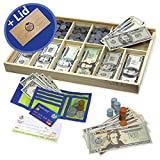 Learn & Climb Educational Play Money Set for Kids - Bills, Coins, Wallet, Credit Card, Checks. Over 560 Pieces