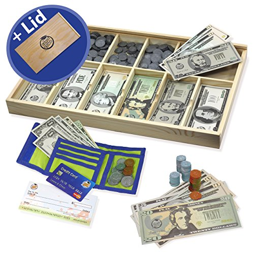 Educational Play Money Set for Kids - Bills, Coins, Wallet, Credit Card, Checks. Over 560 Pieces (Set Journey Coin)