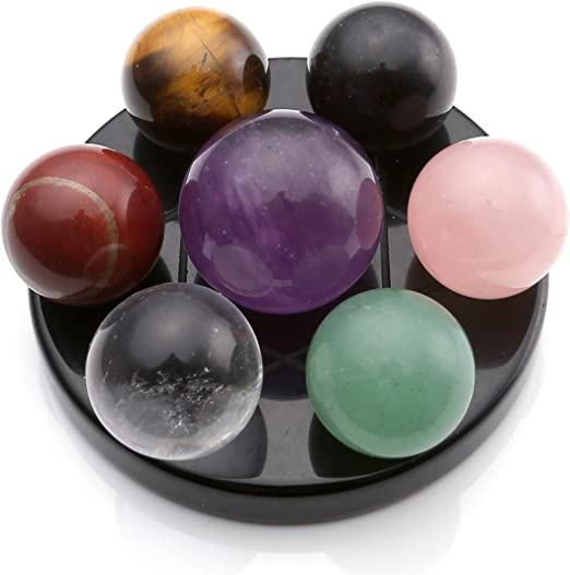 7 Star 100/% Nature Black Obsidian Quartz Crystal Healing Ball Sphere 7PCS+Stand