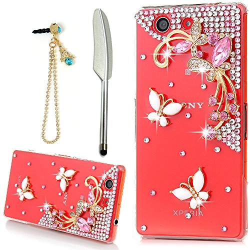 YOKIRIN Sony Xperia Z3 Compact Case,3D Handmade Luxury Crystal Rhinestone with Bling White Butterfly Pink Flower Diamonds Clear Cover Slim Fit Hard PC Protective Case & Blue Dust Plug & Stylus Pen (Sony Z3 Replacements Edges compare prices)