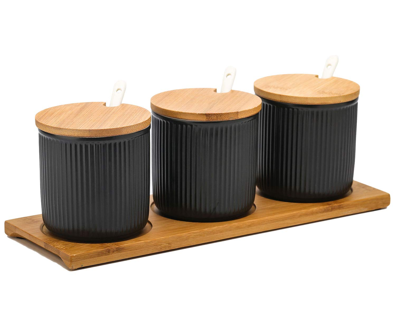 VanEnjoy Ceramic Sugar Spice Containers Porcelain Jar with Bamboo Lids, Tray and Spoons Muti-Functional Round Condiment Jar for Home Set of 3