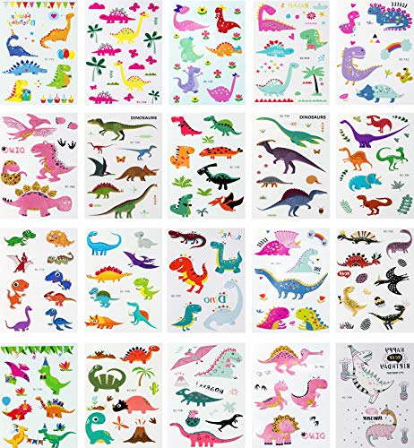 Trooer Dinosaur Temporary Tattoos 120+ Pcs (Pack of 20 Sheets) Cute Temporary Tattoos for Kids Boys Girls Dinosaur Party Supplies Children Party Favors -