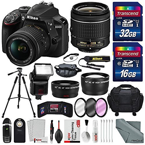 Nikon D3400 with AF-P DX NIKKOR 18-55mm f/3.5-5.6G VR Lens, 32 GB SDHC and Basic Bundle