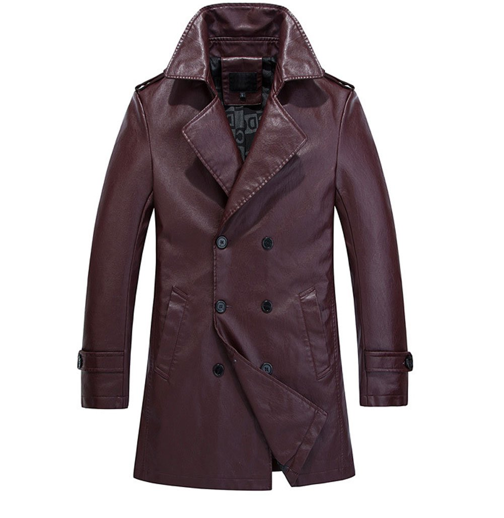 YGT Men's Faux Leather Slim Trench Coat Double Breast Parka Jacket Outwear dark red US L