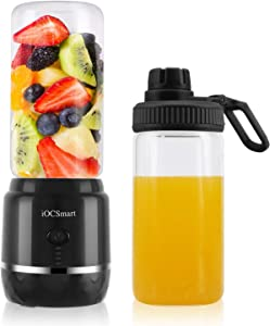 iOCSmart Portable Blender USB Rechargeable, Wireless Electric Personal Juicer Blender for Shakes and Smoothie with 2 Juicer Cup Travel Bottle, 4000mAh High Capacity Batteries (Black)
