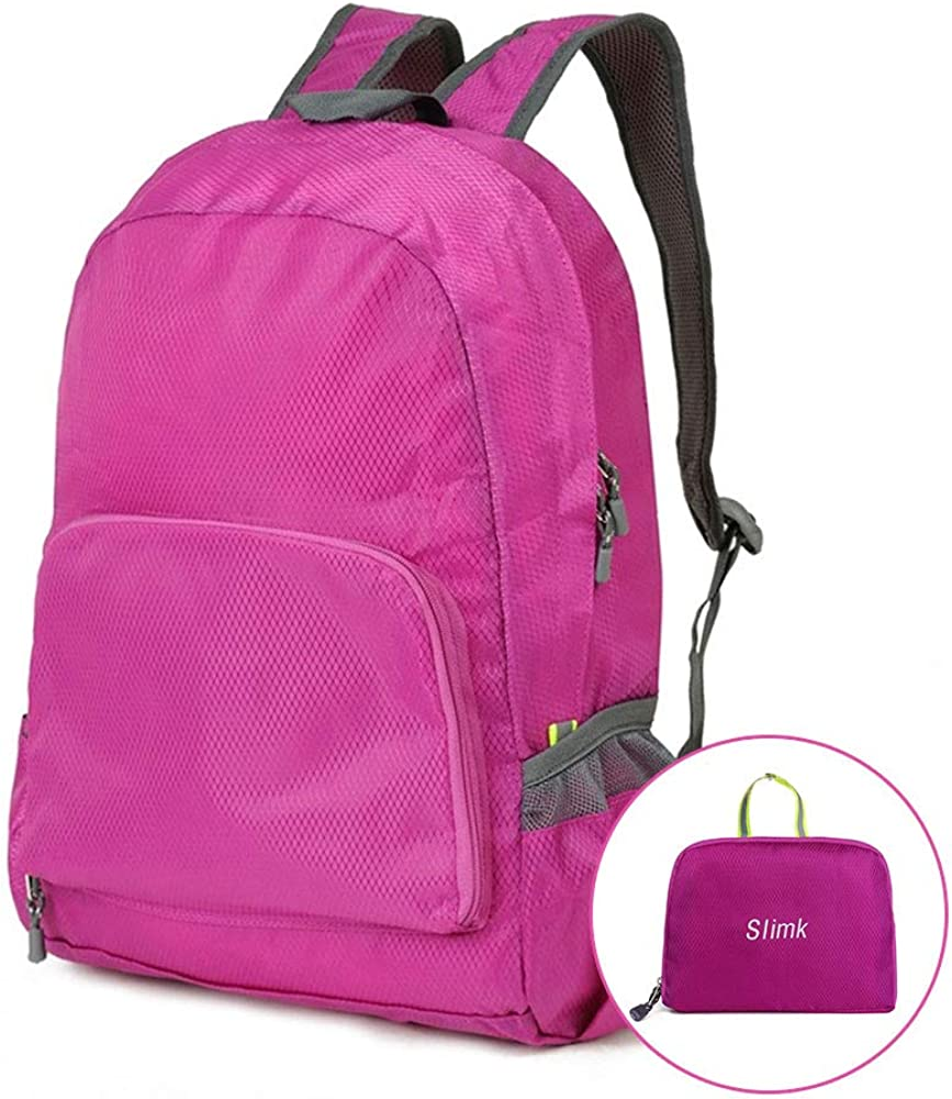 Fuchsia iloovee Packable Backpack Water Resistant Hiking Backpack,Small Backpack Handy Foldable Camping Outdoor Backpack Little Bag