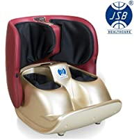 JSB HF119 Calf and Foot Massager Machine Compact Foldable Therapy for Leg Pain Relief (Red-Gold)