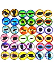 GraceAngie 10mm 100pcs Mixed Style Dragon Eyes Round time gem Cover Glass Cabochon Dome Jewelry Finding Cameo Pendant Settings