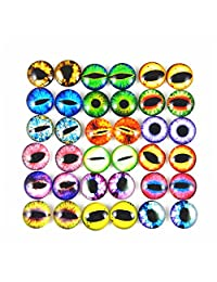 GraceAngie 10mm 50pcs Mixed Style Dragon Eyes Round time gem cover Glass Cabochon Dome Jewelry Finding Cameo Pendant Settings