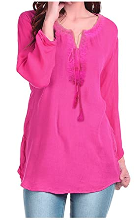 180e93030d8b7 Triumphin Women s Cotton Tunic Top - TRAMT0032 A Pink  Amazon.in ...