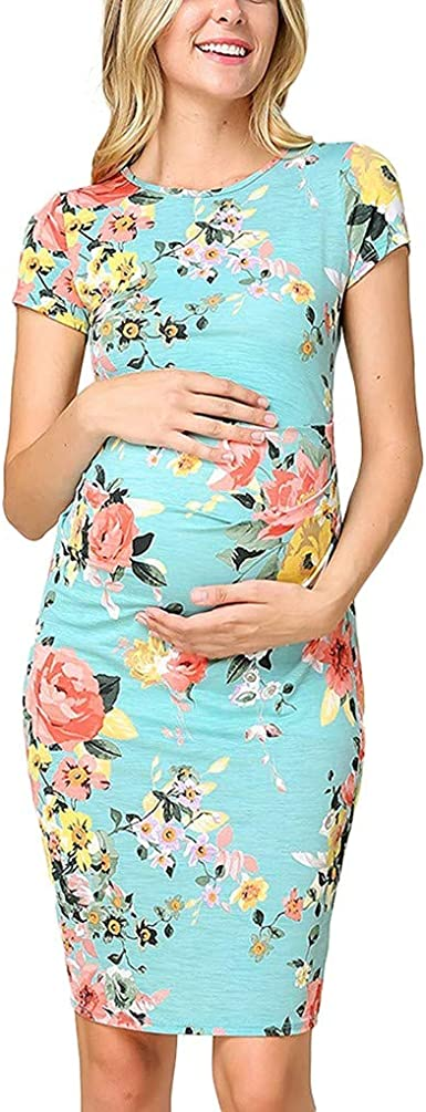 Women/'s Casual Loose Floral Summer Casual Maternity Pregnancy Clothes Mini Dress