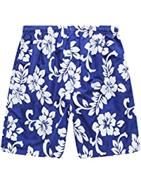 Men's Swim Trunk In All Over Floral Print In Royal Blue