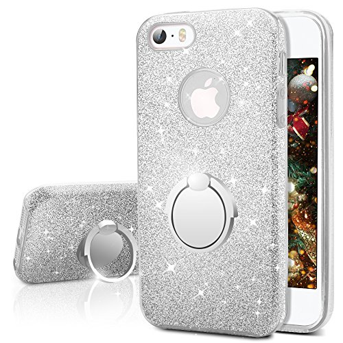 iPhone SE Case, iPhone 5S / 5 Case, Silverback Girls Bling Glitter Sparkle Cute Case With 360 Rotating Ring Stand, Soft TPU Outer Cover + Hard PC Inner Shell Skin for Apple iPhone SE 5S 5 -Silver (Iphone 5s Case Cute Bling)