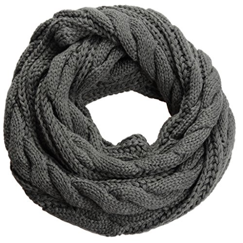 NEOSAN Womens Thick Ribbed Knit Winter Infinity Circle Loop Scarf Twist Charcoal ()