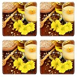 MSD Square Coasters Non-Slip Natural Rubber Desk Coasters design 19767105 Fragrant honey spa with oils and honey on wooden table close up