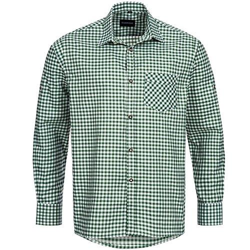 Trachtenhemd für Trachten Lederhosen Freizeit Hemd grün-kariert Gr. L