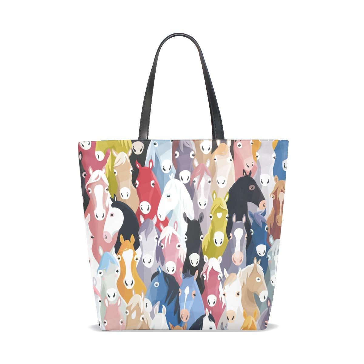 XiangHeFu Femme Sacs /à main mignon color/é Cheval f/ête Tissu Polyester Sac /à bandouli/ère