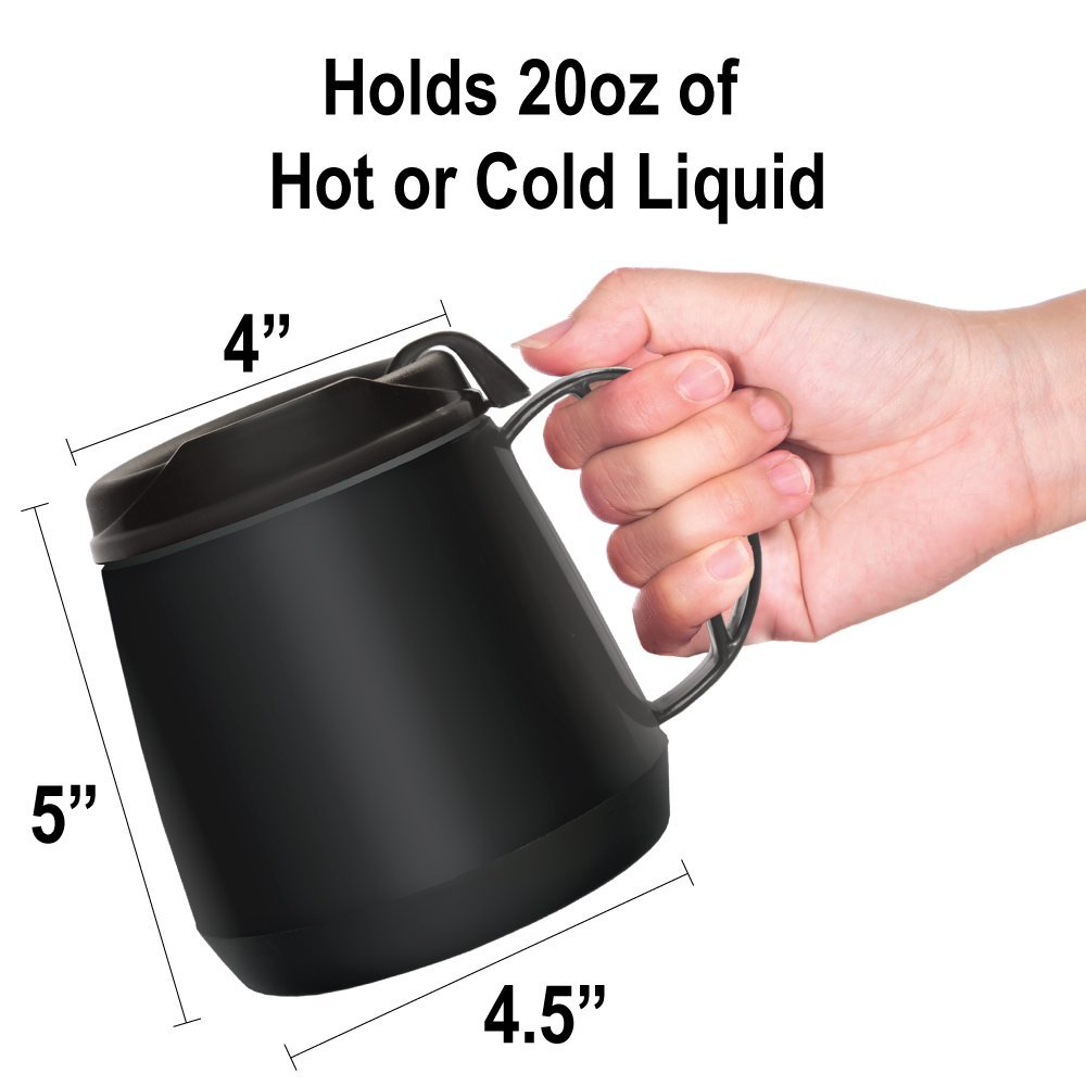 Rehabilitation Advantage Foam Insulated Wide Body Mug Black Richardson Products Inc.