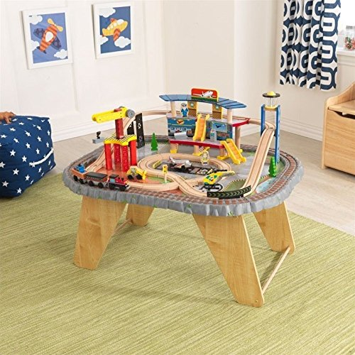 KidKraft 17564.0 Transportation Station Train Set and Table - Kidkraft Wooden Puzzles