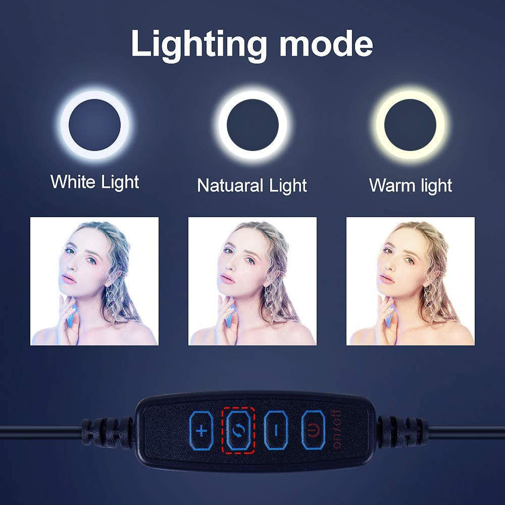 3 Modes with 64 LED Bulbs 3200K,Remote Control and Storage Bag Suitable for YouTube Video Makeup ldab 6 Selfie Ring Light with Adjustable Tripod Stand Photography