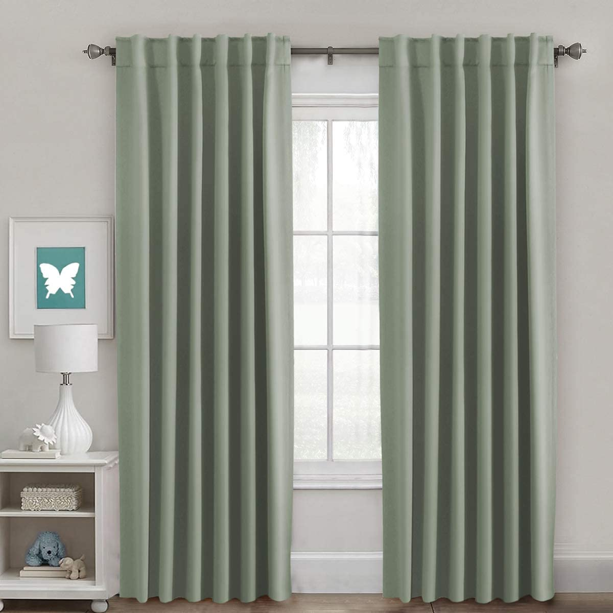 H.VERSAILTEX Full Blackout Room Darkening Curtains Window Panel Drapes, Back Tab/Rod Pocket Top Thermal Insulated Curtains, 2 Panels, 52 x 84 Inch, Sage