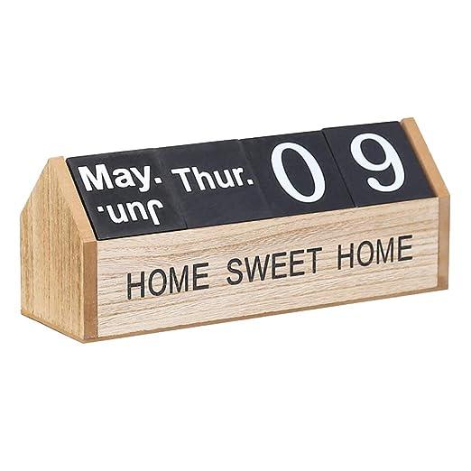 Fenteer Tablero de Madera Calendario de Mesa Escritorio Oficina ...